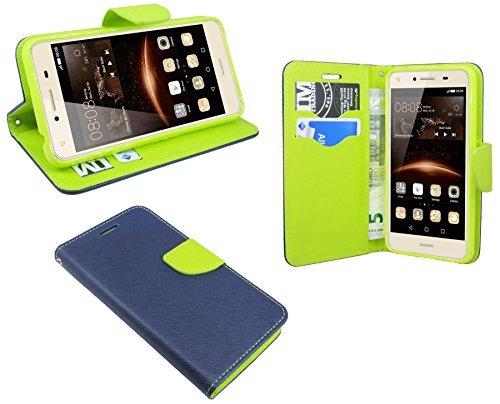 Elegante Buch-Tasche für Huawei Y5 II ( 2 ) in Blau-Grün ( 2-Farbig ) Wallet Book-Style Zubehör Schale Flip-Cover Etui Tasche Hülle@ Energmix
