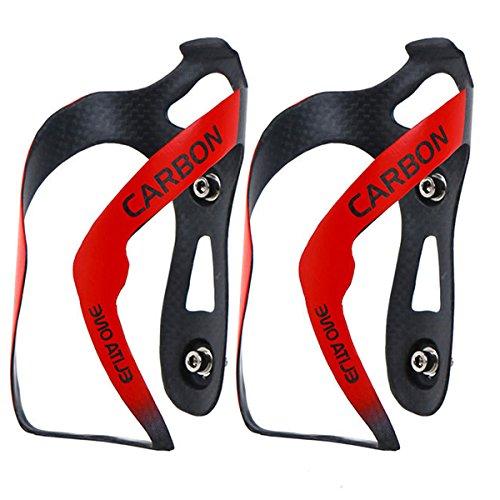 Huntforgold 2er Fahrradflaschenhalter Ultraleicht 3K Carbon Leicht Fahrrad Flaschenhalter Getränkehalter Rot Matt