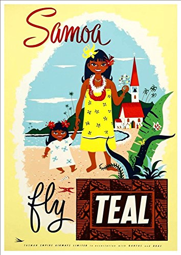 samoa-fly-teal-wonderful-a4-glossy-art-print-taken-from-a-rare-vintage-travel-poster