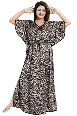 Fashigo Women's Satin Plain Maxi Nighty