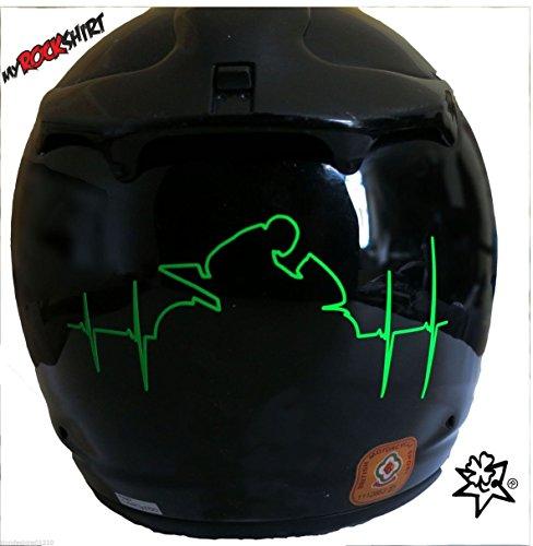 Rossi Herzschlag Reflex Leucht Folie Motorradhelm+ Bonus Testaufkleber