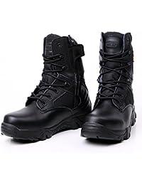 Zapatos altos militares de cuero superior zapatos de senderismo tácticos al aire libre resistentes resistentes antideslizante transpirable e impermeable , black , 42