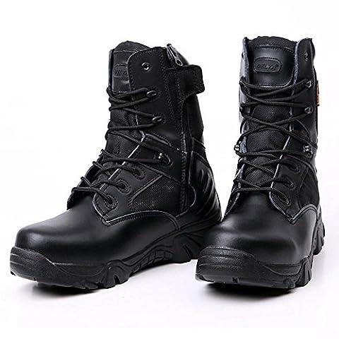 Chaussures militaires supérieures en cuir supérieur chaussures de randonnée tactiques extérieures résistantes durables antidérapantes et imperméables à l'eau , black , 44
