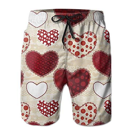 wwoman Männer Pop Art Hearts Lässige Quick Dry Strand Shorts Taschen Badehose Kurze Hosen XXL -