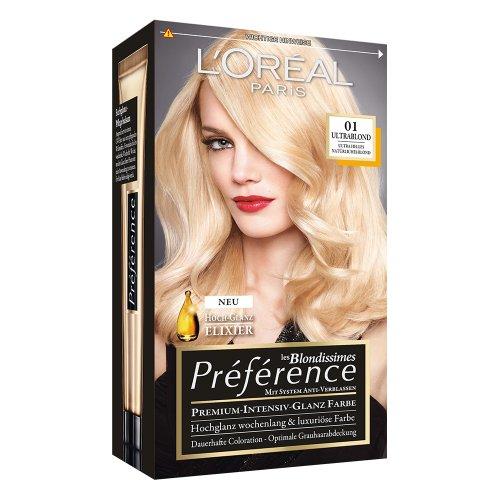 L'Oreal Paris Préférence, 01 Ultra helles Natürliches Blond, 3er Pack (3 x 1 Stück)