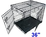 Ellie-Bo Dog Puppy Cage Folding 2 Door Crate with Non-Chew Metal Tray Large 36-inch Black