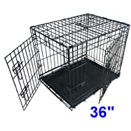 Ellie-Bo Dog Puppy Cage Folding 2 Door Crate with Non-Chew Metal Tray, Black, Large, 36 Inch