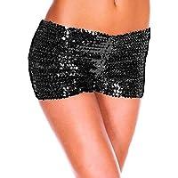 Verano Pantalones cortos de baño para mujer, LILICAT® 2018 Moda sexy cintura alta Yoga Pantalones deportivos brillantes Pantalones cortos Pantalones metálicos Polainas Pantalones cortos deportivos ocasionales (XXL, Negro)