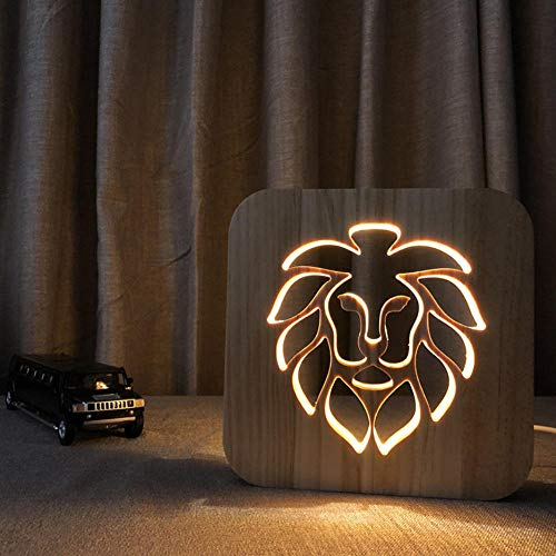 3D Usb Holz Nachtlicht Löwenkopf Massivholz Tischlampe Kreative Hohl Carving Geschenk Licht Neue 3D Lampe -