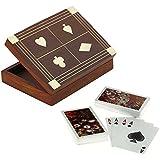 Titular de la tarjeta de madera para jugar a las cartas - 2 mazos de cartas de calidad premium - decoraciones de tarjetas de juego -15.7 x 12,7 x 3,8 cm