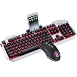 ILkeyko Keyboard & Mouse Combo Set Schwarze Tastenkappe Silent Gaming Mouse mit roter Hintergrundbeleuchtung