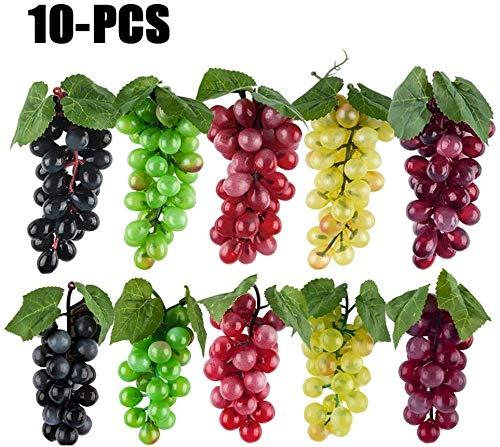 Winko Deko Obst Künstliche Früchte 10 Stücke Künstliche Trauben Simulation Dekorative Lebensechte Gummi Gefälschte Trauben Cluster für Hochzeit Wein Küche Herzstück Deko (5 Farben, 2 Größe)