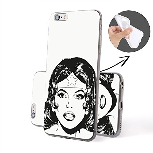 finoo | iPhone 6 / 6S Weiche flexible lizensierte Silikon-Handy-Hülle | Transparente TPU Cover Schale mit Wonder Woman Motiv | Tasche Case mit Ultra Slim Rundum-schutz | Every Mom Portrait Black and White 2