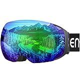 Enkeeo Occhiali da Sci Lente Magnetica Staccabile Doppio Strato Anti-Nebbia Anti-Vento 100% Protezione UV400 , Telaio Curvabile, Schiuma 3 Strati, Pellicola Verde