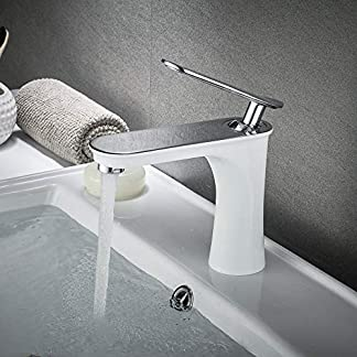 Leekayer Blanco Grifos de lavabo latón Grifo mezclador para lavabo estilo de diseño, cromo pulido 1 agujero