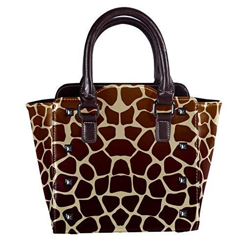 Nananma Schultertasche mit Tragegriff für Damen, Leder, mit Giraffen-Druck, Umhängetasche, Schultertasche (Hobo Giraffe)