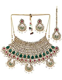 Zaveri Pearls Graceful Gold Tone Bollywood Inspired Necklace Set For Women-ZPFK6986