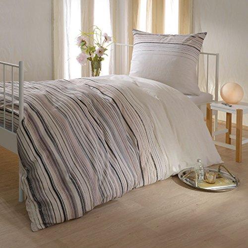 Bettwaren-Shop Biber Bettwäsche Streifen beige 135x200 cm + 80x80 cm