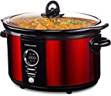 Andrew James Premium Digital Slow Cooker with Tempered Glass Lid & Removable Ceramic Bowl - 5 Litre, Red