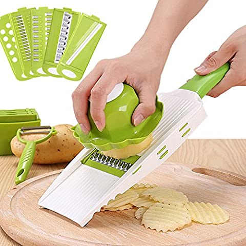 COKOSIM 5 in 1 Mandoline Vegetable Food Slicers Sets with 5 Interchangeable Stainless Steel Blades,Safety Holder and Potato Peeler for Cutting Vegetable,Fruit