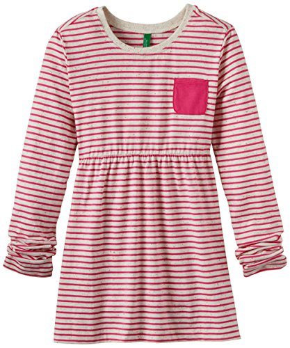 United Colors of Benetton Girls' T-Shirt (14A3GC1C111ZG_Hot Pink and White_L)