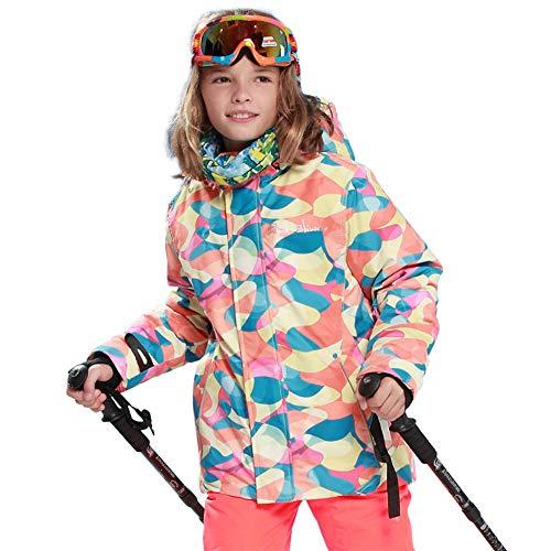 fdghhgjgtkuyiuy Heißer Junge Mode Komfortable Kinder Kinder Winter Halten Warme Außen Wetterfest Schnee Ski Outdoor Sport Jacke Mantel Rosa + orange 146/152 (Wetterfest Mäntel Winter Kinder)