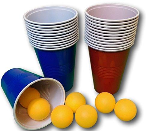 48 tlg. Bier-Pong Beer Pong Set 24 Becher 24 Bälle Trinkspiel Spiel Partyspiel Party Wurfspiel Saufspiel