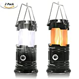 2 Pack Portable LED Camping Lantern, HLZDH [2018 UPGRADED][3-IN-1] Decorative Flame light Ultra Bright Flashlights Collapsible Survival Kit for Emergence, Outdoor Indoor Black (Batteries Not Included)