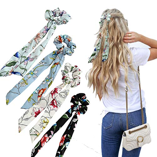 WELROG 4 Stücke Frauen Haar Haargummis Haar Krawatten Kopfverpackung Gummibänder Haar Zubehör (Schwarz/Weiß/Hellblau/Himmelblau) (Krawatten Frauen)
