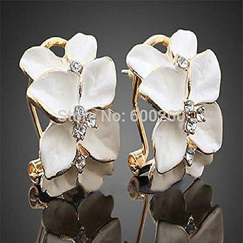 Nutbio (TM) Chic di cristallo delle donne Gardenia Fiore orecchio degli orecchini con strass dell'orecchio di goccia del cerchio dei monili di modo di trasporto Fibbia