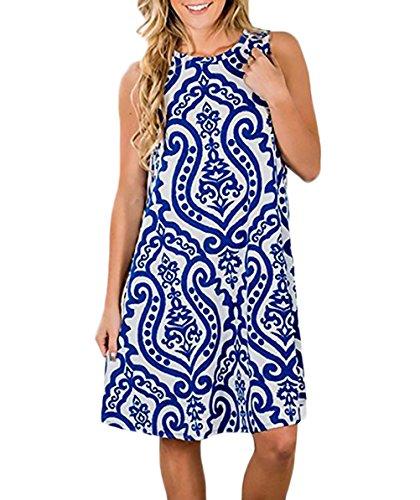 Strandkleid Damen Elegant Jungen Hipster Blumendrucken Ethno-Style Boho Kleid Ärmellos Rundhals A-Linie Locker Sommerkleider Freizeitkleider (Color : Blau, Size : M) - Linien Hipster