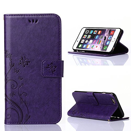 "COOLKE Retro Butterflies Pattern Design PU Leather Wallet With Card Pouch Stand Lederhülle Leder Tasche Case Cover für Apple iPhone 6 6s (4.7"")Schutzhülle Hülle - Rose Purple"