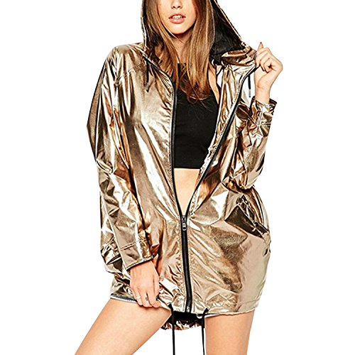LAEMILIA Women Casual Metallic Shiny Hoodie Full Zipper Sweatshirt Lightweight Long Sleeve Hip Hop Dancing Jacket