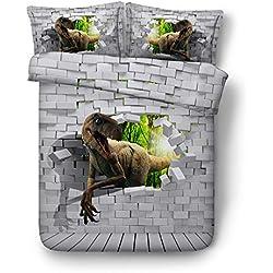 Sticker superb Quatre Saisons 200x200cm Jurassique Dinosaure Housse de Couette, Gris Animal Doux Housse de Couette, Bambin Homme Microfibre Polyester Ensemble de Literie (Dinosaure 3, 200x200cm)