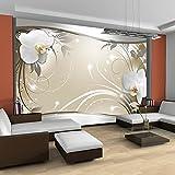 murando® Fototapete Blumen 350x245 cm - Vlies Tapete - Moderne Wanddeko - Design Tapete - Wandtapete - Wand Dekoration - Blume weiß grau silber beige Orchidee Ornament Abstrakt b-A-0078-a-c