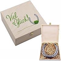 """Hufeisen-Box mit Motiv """"Viel Glück"""" mit Hufeisen Glücksgeschenk Geschenkidee Glücksbringer"""