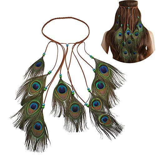 Schmuck Kostüm Pfau - Jurxy Böhmische Pfau Feder Kopfschmuck Stirnband Damen Hippie Boho Indianer Stirnbänder Zigeuner Headwear Weben Frau Mädchen Lieblings Haarschmuck - Pfau