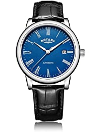 Rotary Men's Automatic Watch with Blue Dial Analogue Display and Black Leather Strap GS00658/05