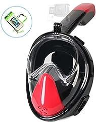 Tritina Seaview 180 ° máscara de buceo con GoPro Mount + bolsa de teléfono impermeable, anti-buceo Máscara de buceo de plena cara Easy Breath XL Size - Rojo