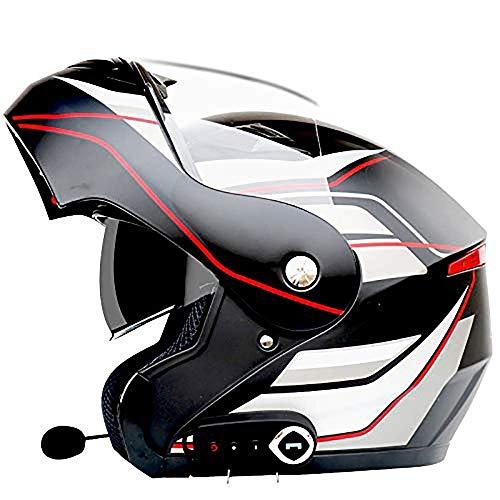 GuoYq Bluetooth-Headset Motorradhelm, 3000 mAh Batterie Modularer Motorrad-Integralhelm Anti-Fog Double Lens Up Klapphelm Cross Country Cap Automatische Antwort High-cap-akku