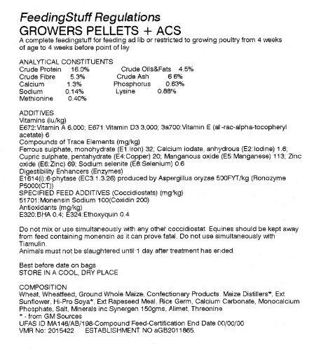 Croston Corn Mill 25kg Poultry Grower Pellets - 16% Protein + ACS 2