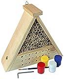 Windhager 06944 Insektenhotel Bausatz BEE, Bienenhotel Bienenhaus Insektenhaus Nistkasten Brutkasten, inklusive Farbset zum Bemalen, 06944