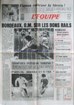 EQUIPE (L') [No 12755] du 13/05/1987 - FIGNON - LA SIERRA - BORDEAUX - OM - STOPYRA - INTER OU TORINO - PARIS-SG - HODDLE ET FUTRE - AJAX - C2 - L'AUSTRALIE - ATHLETISME - JAZY - LECONTE - ESCRIME - LAMOUR - BATEAUX - FEHLMANN BAT TABARLY.