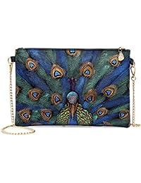Schönes besticktes Portemonnaie Damen Geldbörse XL Pfau Geldbeutel Brieftasche