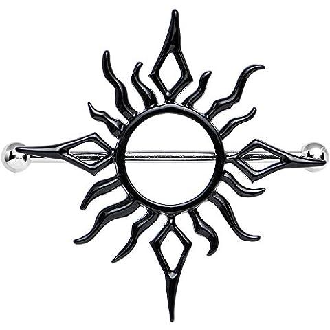 Color negro y fuego sol pezón escudo Tribal