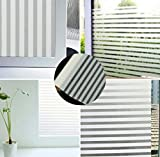 TOTAL HOME :Fashion Foggy Privacy Bathroom Window Glass Waterproof Static Film PVC Stripe Sticker 2M