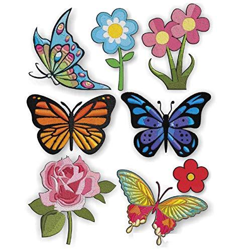 Siebdruck Patch (Haberdashery Online 8 Schmetterlinge Patches Siebdruck Bügeln - REF.504-U8)
