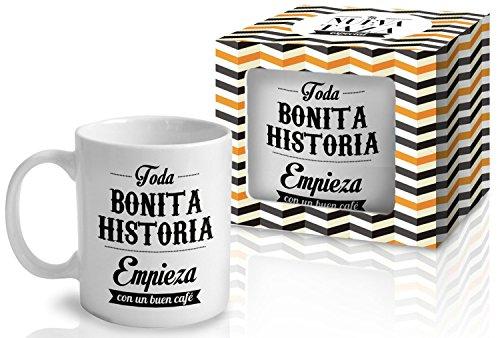 Taza Cerámica para Desayuno en Color Blanco de 300 ml, Un Regalo Original con Frases Motivadoras - 'Toda bonita historia empieza con un buen café'