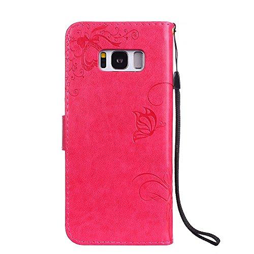 Premium PU-Leder Folio Stand Case, Solid Color prägeartig Blumen schützende Geldbörse Tasche Tasche mit Lanyard & Card Slots für Samsung Galaxy S8 ( Color : Purple ) Red