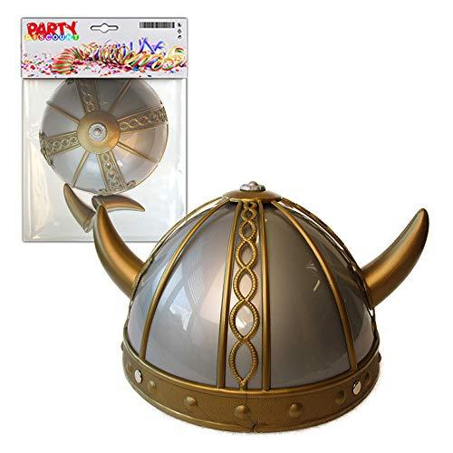 PARTY DISCOUNT ® Helm Wikinger grau / Gold für Kinder (Kinder Wikinger Helm)